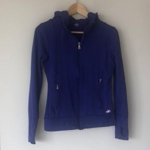 ALO Royal Purple Hooded + Fitted Workout Jacket, S